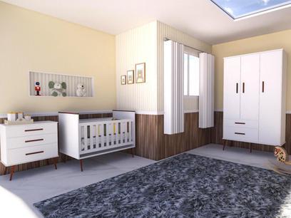 Quarto Infantil Retrô com Guarda Roupas 3 portas, Cômoda Gaveteiro e Berço Retrô - Mobili
