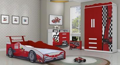 Quarto Juvenil Carro Vermelho com Guarda-roupa / Cama / Comoda e Baú Valen Móveis