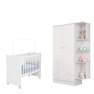 Quarto para Bebê Berço e Guarda Roupa Branco - Qmovi
