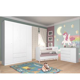 Quarto para Bebê com Berço Mini Cama SR + Guarda Roupa + Cômoda Laura - Phoenix - Phoenix baby