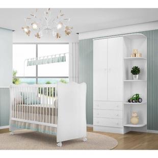 Quarto Para Bebê Com Guarda Roupa E Berco 102 Doce Sonho Qmovi - Branco