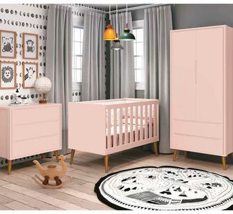 Quarto para Bebê Theo Rosa Fosco com Pés Madeira - Reller