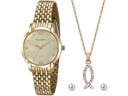 Relógio Feminino Mondaine Analógico - 32105LPMVDE1KA Dourado com Acessórios