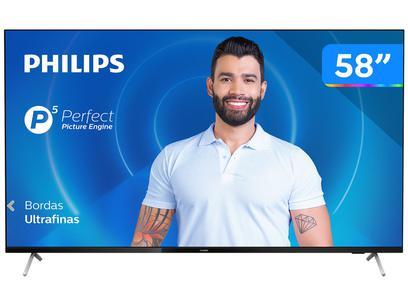 "Smart TV 4K D-LED 58"" Philips 58PUG7625/78 - Wi-Fi Bluetooth HDR 3 HDMI 2 USB"