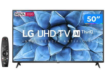 "Smart TV 4K LED 50"" LG 50UN7310PSC Wi-Fi Bluetooth - Inteligência Artificial 3 HDMI 2 USB"