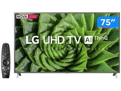 "Smart TV 4K LED IPS 75"" LG 75UN8000PSB Wi-Fi - Bluetooth HDR Inteligência Artificial 4 HDMI 2 USB"