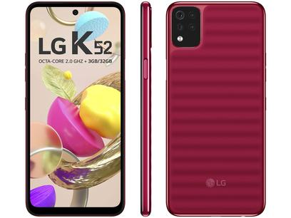 """Smartphone LG K52 64GB Vermelho 4G Octa-Core - 3GB RAM Tela 6,59"""" Câm. Quádrupla + Selfie 8MP"""