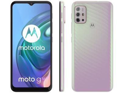 "Smartphone Motorola Moto G10 64GB Branco Floral - 4G 4GB RAM Tela 6,5"" Câm. Quádrupla + Selfie 8MP"