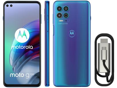 "Smartphone Motorola Moto G100 e Cabo USB-C/HDMI - 256GB Luminous Ocean 12GB RAM 6,7"" Câm. Quádrupla"