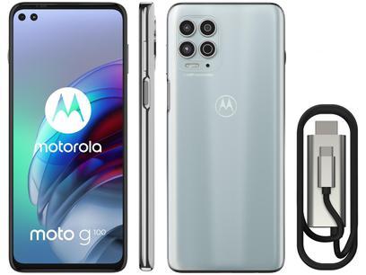 """Smartphone Motorola Moto G100 e Cabo USB-C/HDMI - 256GB Luminous Sky 12GB RAM 6,7"""" Câm. Quádrupla"""