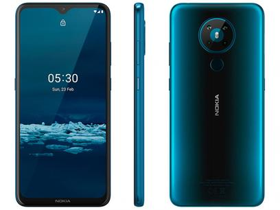 "Smartphone Nokia 5.3 128GB Verde 4G Octa-Core - 4GB RAM 6,55"" Câm. Quádrupla + Selfie 8MP"