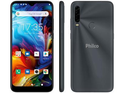 "Smartphone Philco HIT P10 128GB Space Grey 4G - Octa-Core 4GB Tela 6,2"" Câm. Tripla + Selfie 8MP"