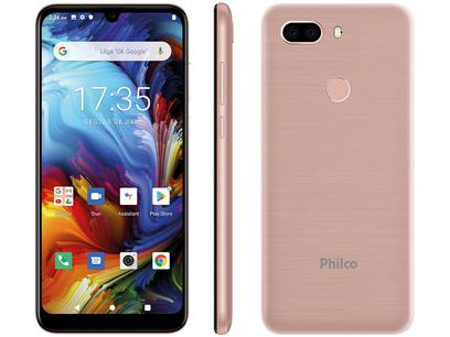 "Smartphone Philco PCS02RG HIT MAX 128GB Rose - 4G 4GB RAM Tela 6"" Câm. Dupla + Selfie 8MP"