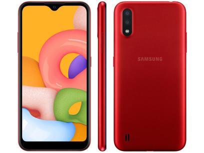 """Smartphone Samsung Galaxy A01 32GB Vermelho - 2GB RAM Tela 5,7"""" Câm. Dupla + Câm. Selfie 5MP Vermelho"""