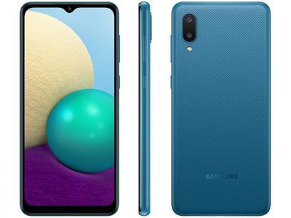 "Smartphone Samsung Galaxy A02 32GB Azul 4G - Quad-Core 2GB RAM 6,5"" Câm. Dupla + Selfie 5MP"