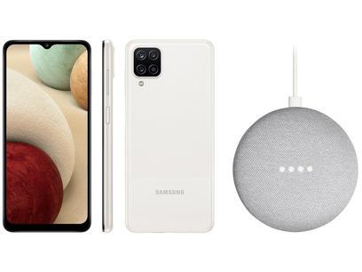 Smartphone Samsung Galaxy A12 64GB Branco 4G - 4GB RAM + Nest Mini 2ª geração Smart Speaker