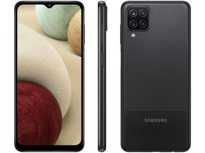 "Smartphone Samsung Galaxy A12 64GB Preto 4G - Octa-Core 4GB RAM 6,5"" Câm. Quádrupla + Selfie 8MP"