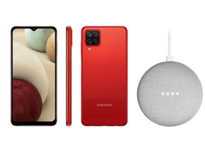 Smartphone Samsung Galaxy A12 64GB Vermelho 4G - 4GB RAM + Nest Mini 2ª geração Smart Speaker