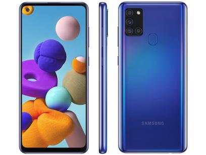 "Smartphone Samsung Galaxy A21s 64GB Azul 4G - 4GB RAM 6,5"" Câm. Quádrupla + Selfie 13MP"