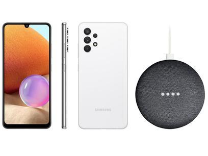 Smartphone Samsung Galaxy A32 128GB Branco 4G - 4GB RAM + Nest Mini 2ª geração Smart Speaker