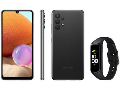 Smartphone Samsung Galaxy A32 128GB Preto 4G - 4GB RAM + Smartband Galaxy Fit2 Preto