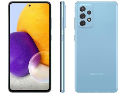 "Smartphone Samsung Galaxy A72 128GB Azul 4G - 6GB RAM Tela 6,7"" Câm. Quádrupla + Selfie 32MP"