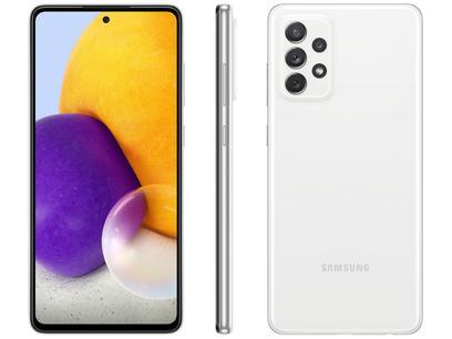 "Smartphone Samsung Galaxy A72 128GB Branco 4G - 6GB RAM Tela 6,7"" Câm. Quádrupla + Selfie 32MP"