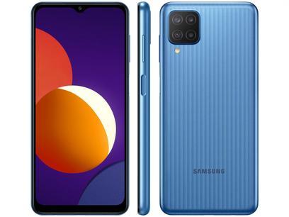 "Smartphone Samsung Galaxy M12 64GB Azul 4G - 4GB RAM Tela 6,5"" Câm. Quádrupla + Selfie 8MP"