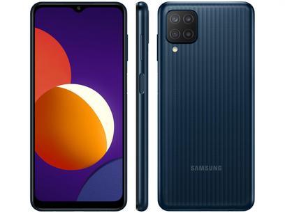"Smartphone Samsung Galaxy M12 64GB Preto 4G - 4GB RAM Tela 6,5"" Câm. Quádrupla + Selfie 8MP"
