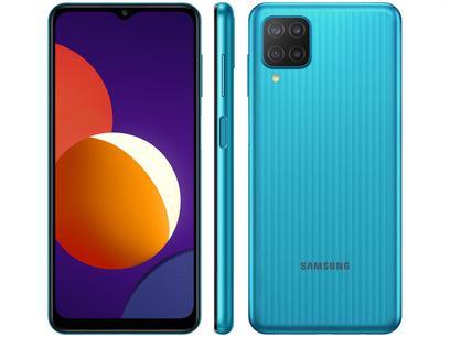 "Smartphone Samsung Galaxy M12 64GB Verde 4G - 4GB RAM Tela 6,5"" Câm. Quádrupla + Selfie 8MP"
