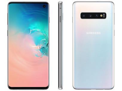 "Smartphone Samsung Galaxy S10 128GB Branco 4G - 8GB RAM Tela 6,1"" Câm. Tripla + Câm. Selfie 10MP"