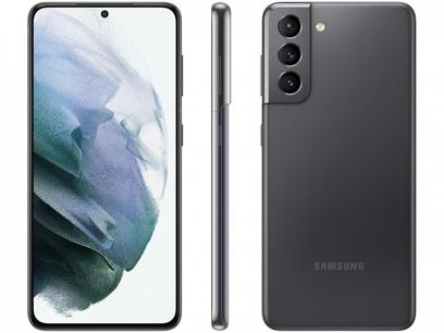 "Smartphone Samsung Galaxy S21 128GB Cinza 5G - 8GB RAM Tela 6,2"" Câm. Tripla + Selfie 10MP"