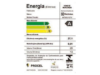 e792944c7 Micro-ondas Electrolux 20L MT30S - QR Code com Receitas