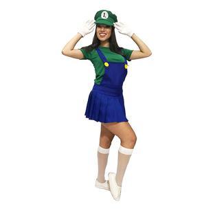 ca8212ab6359c Fantasia Luigi do Super Mario Feminina Cosplay - Fantasias ...
