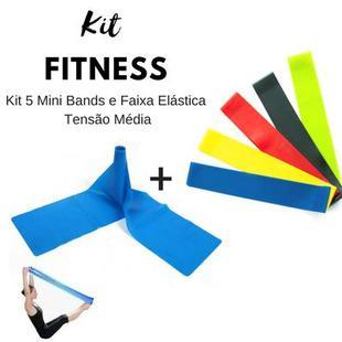 cecf8c4de Kit Fitness 5 Mini Bands + Faixa Elástica Longa Tensão Média - Mini ...