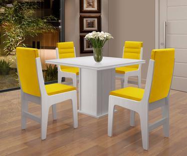 Mesa Jantar Com 4 Cadeiras Amsterdam Branco Canário - Dobuê - Conjunto de  Mesas e Cadeiras - Magazine Luiza 967cda2191