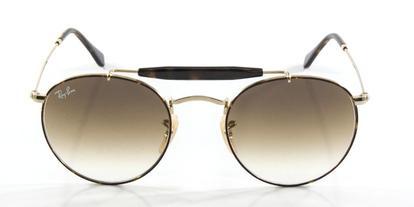 72520419a465c Óculos De Sol Ray Ban Round RB3747 Ouro Lentes Marrom Degradê ...