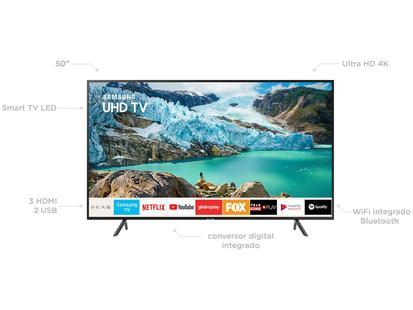 "Smart TV 4K LED 50"" Samsung UN50RU7100 Wi-Fi - HDR Conversor Digital 3 HDMI  2 USB"