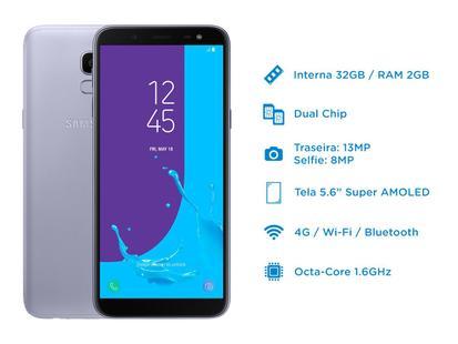 74aa8d23c5 Smartphone Samsung Galaxy J6 32GB Prata - Dual Chip 4G Câm. 13MP + Selfie  8MP Flash - Galaxy J6 - Magazine Luiza