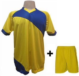 Uniforme Esportivo com 20 camisas modelo Bélgica Amarelo Royal + 20 calções  modelo Madrid Amarelo + Brindes - Play fair 1fbaada5b8e7b