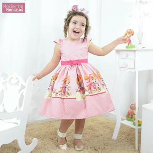Vestido Festa Infantil Skye Da Patrulha Canina Moderna Meninas