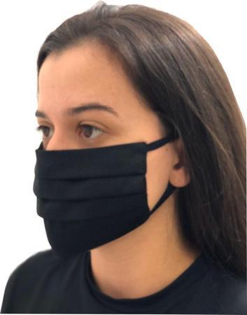 Imagem de 10UN Máscaras De Tecido Reutilizáveis 100% algodao tricoline com elastico Preta