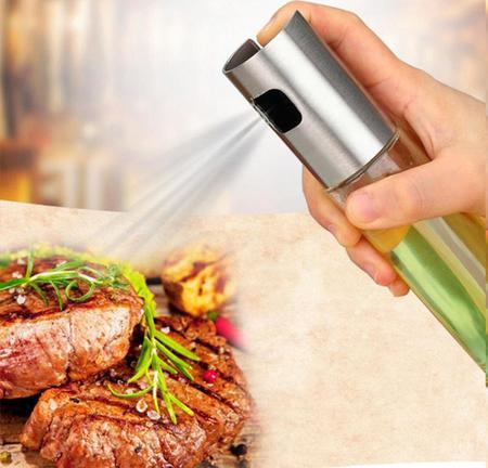 Imagem de 2 Porta Azeite Vinagre Spray Borrifador Chef Galheteiro Inox