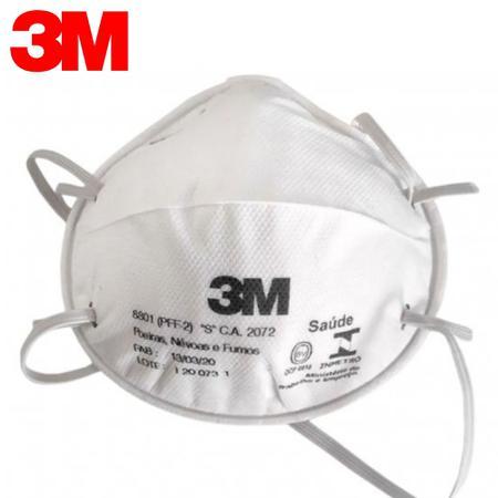 Imagem de 20 Máscaras 3M 8801 concha com espuma no clipe nasal - selo inmetro ca:2072 n95/pff2
