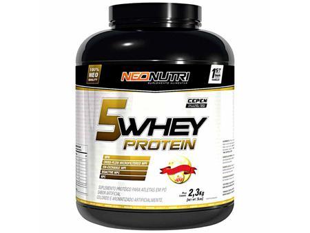 Imagem de 5 Whey Protein 2,3 kg Sabor Morango e Banana