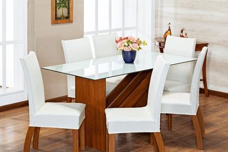 Imagem de 6 Capas Para Cadeira Jantar Com Elástico Malha Gel Lisa Branca