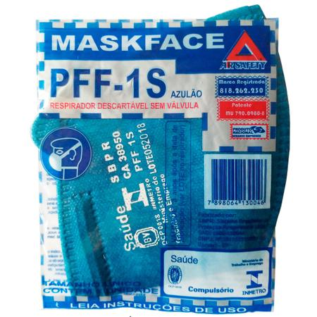 Imagem de 70 máscara descartável maskface pff-1s (pff1) azul sem válvula air safety ca 38.950