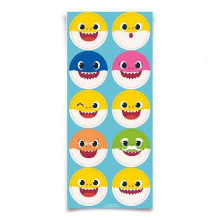 Imagem de Adesivo Redondo para Lembrancinha Festa Baby Shark - 30 unidades - Cromus - Rizzo Festas