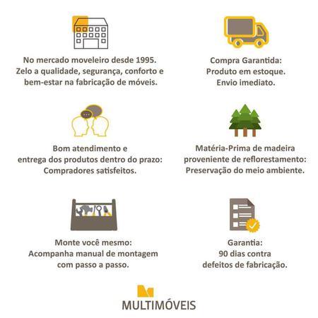 Imagem de Aparador Buffet 4 Portas c/ Pés Retrô Veneza Multimóveis Branco/Preto