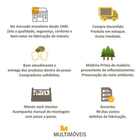Imagem de Aparador Buffet 4 Portas com Pés Retrô Veneza Multimóveis Preto